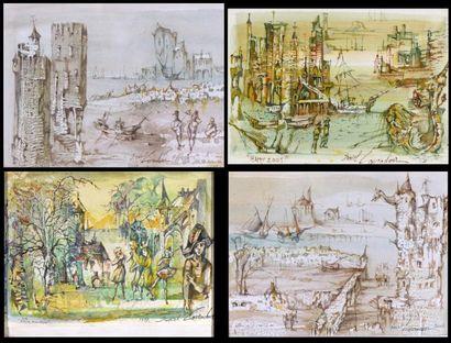 Daniel LOURADOUR (1930 – 1981)  Châteaux...