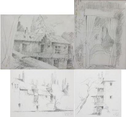 Philippe LORIN (XXe), quatre dessins au crayon:...