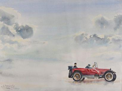 Pascal LECOCQ,  Voiture dans les nuages  Aquarelle...