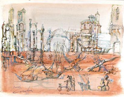 Daniel LOURADOUR (1930 – 1981)  Ruines italiennes...