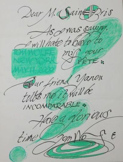 WOLFE (Tom). Beau mot autographe signé