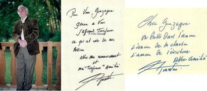 AZNAVOUR (Charles) : Carte autographe signée...