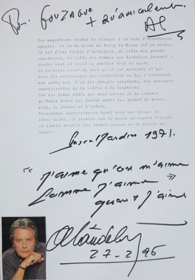 DELON (Alain). Texte tapuscrit de Pascal...