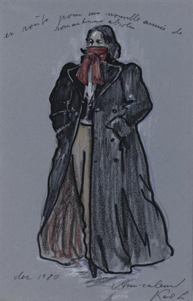 LAGERFELD (Karl). Beau dessin original au...