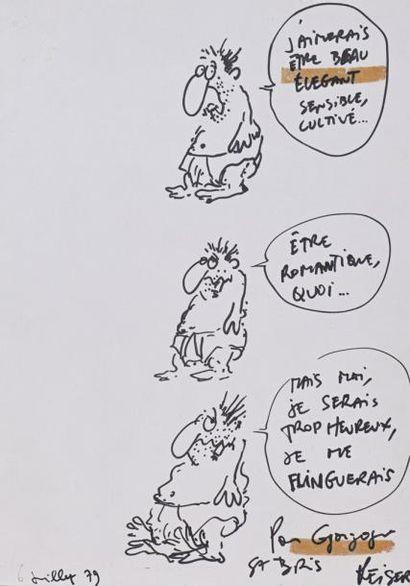 REISER (Jean-Marc). Dessin original au feutre...