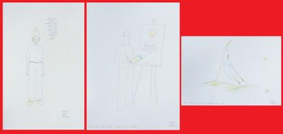 D'après Moebius, lot de trois reproductions...