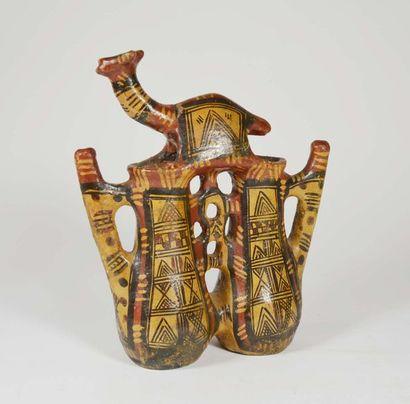 Vase à double réceptacle avec chameau  Terre...