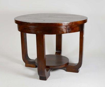 Table basse ronde quadripode en bois et placage...