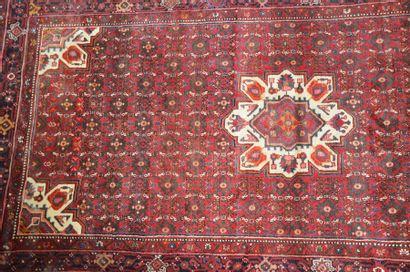 Tapis laine fond rouge  320 x 163 cm