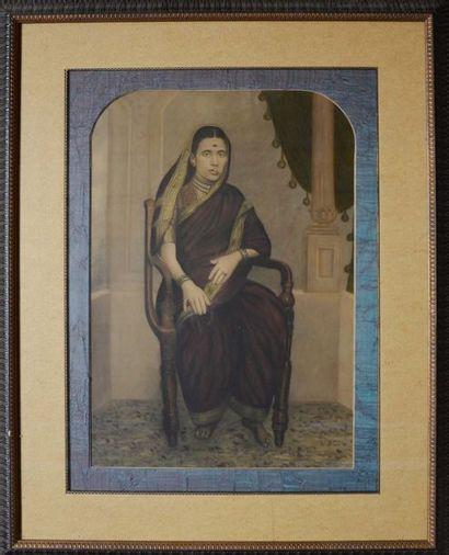 Dessin représentant une femme mariée indienne...