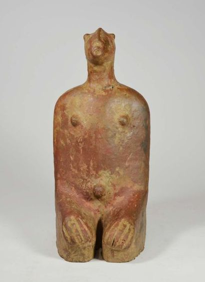 Statue funéraire Djénné présentant un oran assis dans une position de prière  Terre...