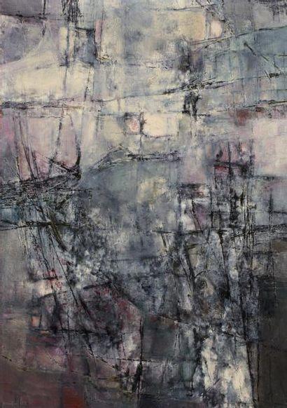 Hajime KATO (1925-2000)  Composition 7, 1961  Huile sur toile signée et datée en...
