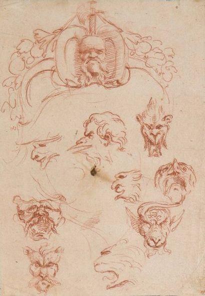Ecole française ou florentine vers 1700  Feuille d'études pour des mascarons  Sanguine...