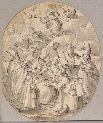 Ecole allemande du XVIIème siècle  Scène religieuse : personnages en prière intercédant...