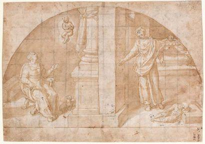 Ecole romaine vers 1600  Scène avec un enfant...