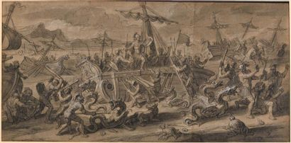François VERDIER (Paris 1651 – 1730)  Jason et les chimères  Pierre noire, lavis...