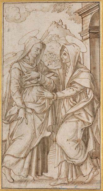 Ecole des Anciens Pays-Bas du XVIème siècle  La Visitation  Plume et encre brune...