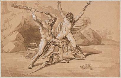 Attribué à Arnold Van HAHN (Amsterdam 1732 ?)  Hercule et Antée  Plume et encre...