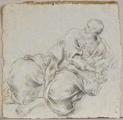 Ecole vénitienne du XVIIème siècle  Figure d'homme drapé allongé, d'après Palma...