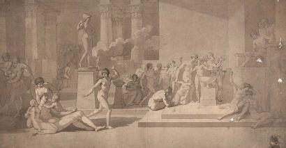 Pierre PEYRON (Aix-en-Provence 1744 – Paris 1814)  Etude pour Les jeunes Athéniens...