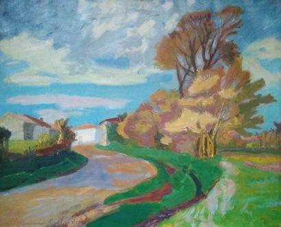 Louis BERTHOME SAINT ANDRE (Barbery 1905 - Paris 1977)  Paysage  Huile sur toile...