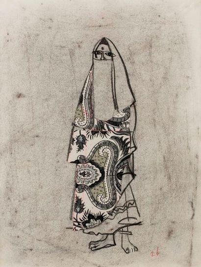 Roger BEZOMBES (Paris 1913 - 1994)  Le Harem - Femme indienne  Fusain et collages...