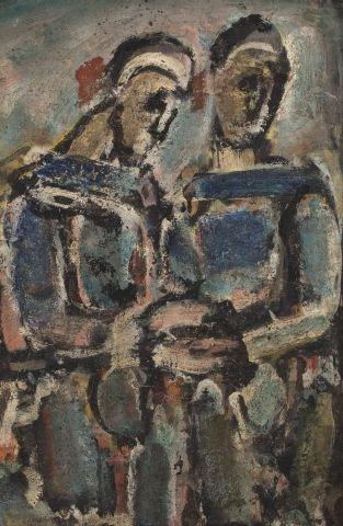 * Georges ROUAULT (Paris 1871 - 1958) Pierrots, c.1940 Huile sur papier marouflé...