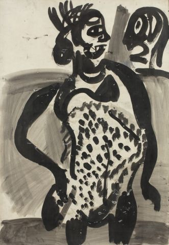Georges ROUAULT (Paris 1871 - 1958) Face à face, vers 1917 Gouache, encre et lavis...