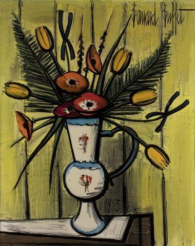 Bernard BUFFET (Paris 1928 - Tourtour 1999) Bouquet dans un vase Huile sur toile...