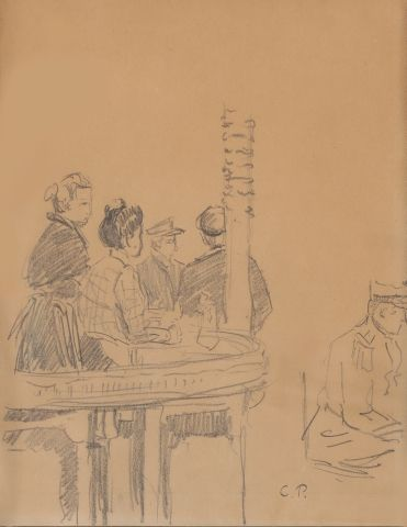 *Camille PISSARRO (1830-1903) Au café Crayon...