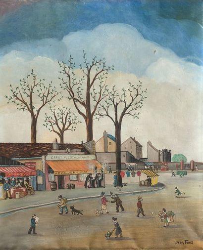 Jean FOUS  (Paris 1901 – l'Union 1971)  Place de village  Sur sa toile d'origine...
