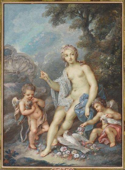 Jacques CHARLIER (actif à Paris entre 1720 - 1790) Nymphe et amours dans les bois...