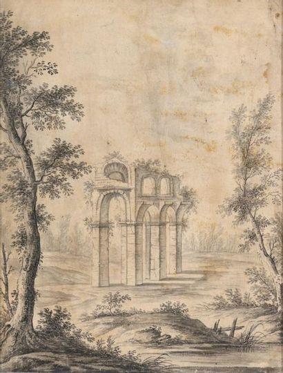 Ecole française du XVIIIème siècle Paysage...