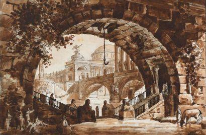 D'après Hubert ROBERT Vue du temple de Jupiter...