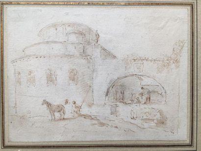 Attribué à Hubert ROBERT (Paris 1733 - 1808)...
