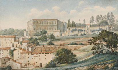 Ecole française vers 1800 Vue animée du palais...