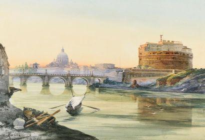 Roberto GIGLI (1846 – 1922) Vue du Tibre...