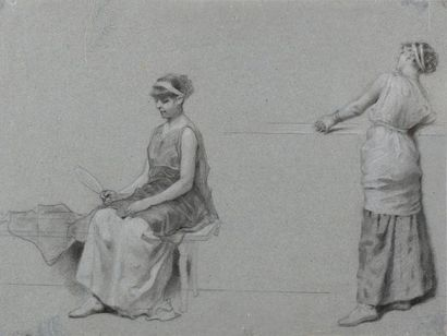 Henryk SIEMIRADZKI (Novobelgorod 1843 - Strza?kowo1902) Femme debout contre un mur...