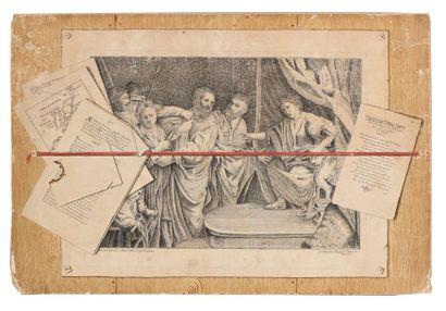 Ecole française du XVIIIème siècle Trompe l'œil avec gravure de Valentin Plume et...