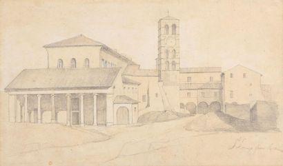 Attribué à Dominique PAPETY (Marseille 1815 – 1849) Vue du monastère Saint Laurent...