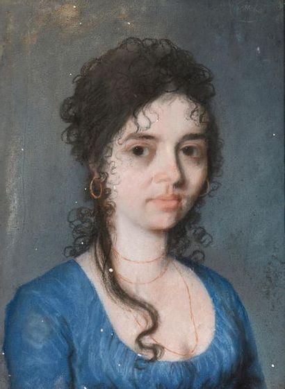 Ecole française vers 1790 Portrait de jeune...