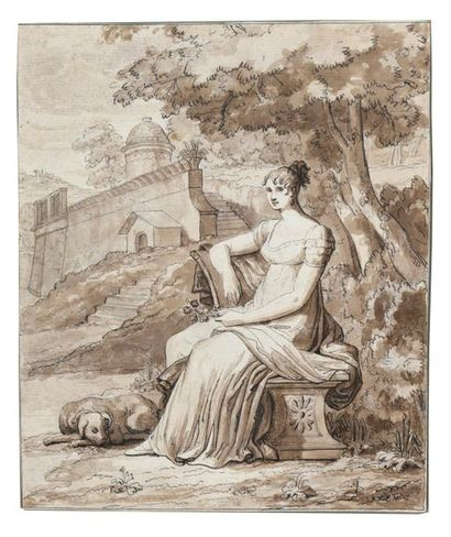 Ecole néoclassique Portrait de femme avec...