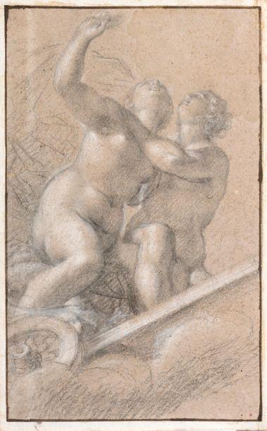 Ecole florentine du XVIIème siècle Deux figures...