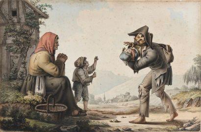 Ecole vers 1800 Scène de genre avec des mendiants...