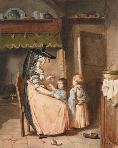 Charles RAMELET ( ?1805 – 1851) Scène d'intérieur...