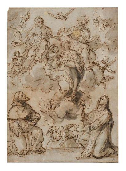 Ecole espagnole du XVIIème siècle Couronnement...