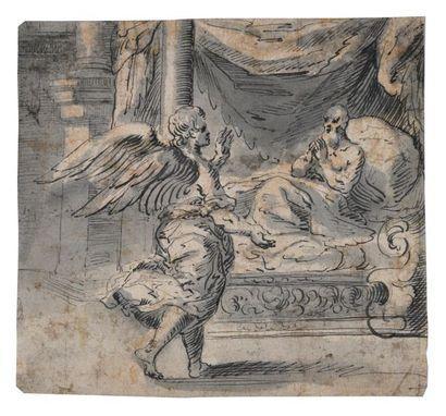 Ecole allemande du XVIIème siècle Ange apparaissant...