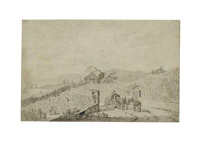 Ecole suisse vers 1700 Les vendangeurs avec...