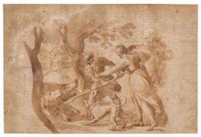 Ecole française du XVIIème siècle Chasse...