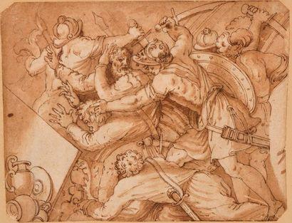 Ecole italienne vers 1600 Scène de bataille...